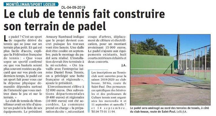 Dauphiné libéré du 04-09-2019- Club de tennis de Montélimar