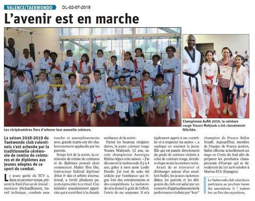 Dauphiné Libéré du 02-07-2019- Taekwondo de Valence
