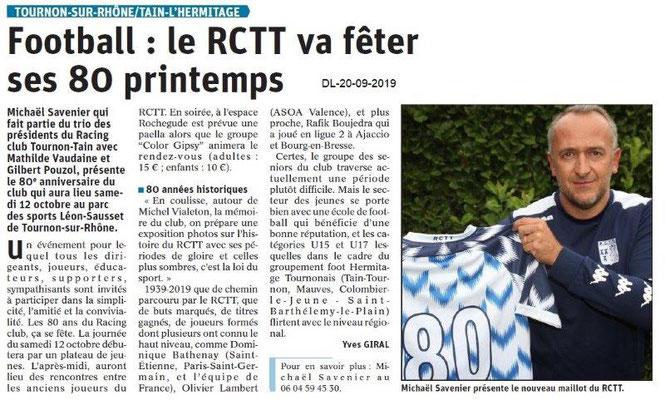 Dauphiné libéré du 20-09-2019- 80 ans du Football Racing Club Tain-Tournon