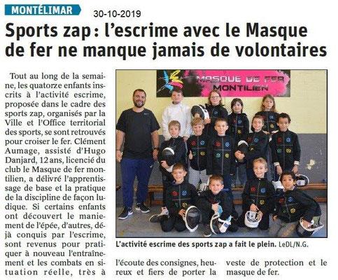 le Dauphiné Libéré du 30-10-2019- L'escrime SPORT-ZAP Montélimar