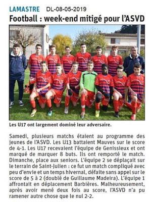 Le Dauphiné Libéré du 08-05-2019- Football de Lamastre