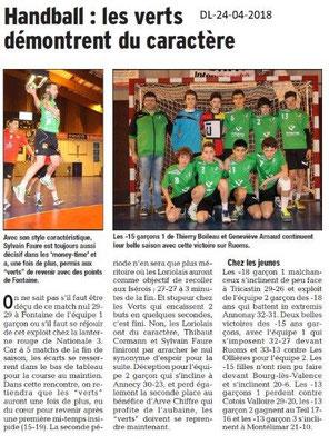 Dauphiné Libéré du 24-04-2018-Handball-Loriol