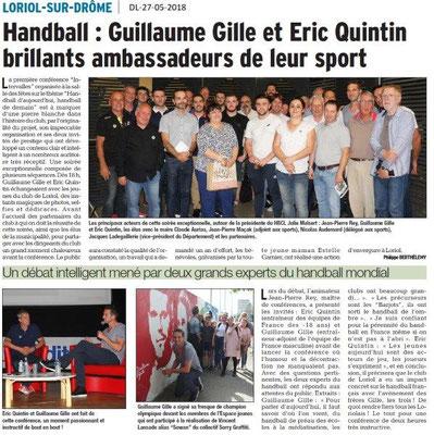 Dauphiné Libéré du 27-05-2018-Handball conférence à Loriol