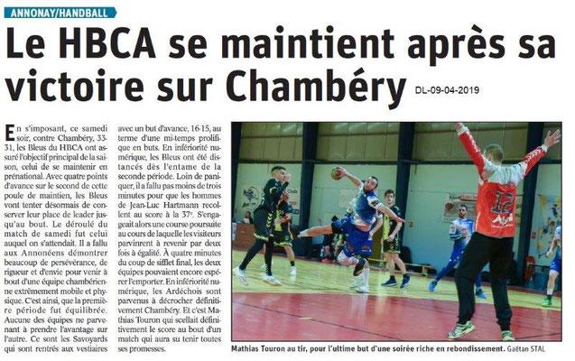 Le Dauphiné Libéré du 09-04-2019- Handballeurs d'Annonay