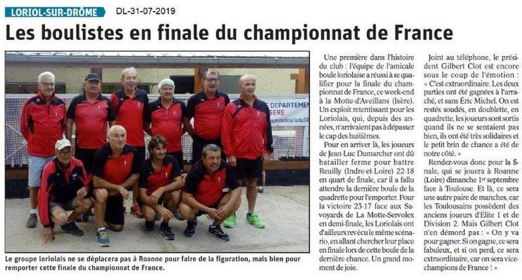 Dauphiné Libéré du 31-07-2019- Les boulistesde Loriol