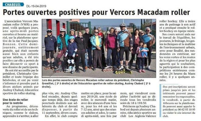 Le Dauphiné Libéré du 19-04-2019- Roller à Chabeuil