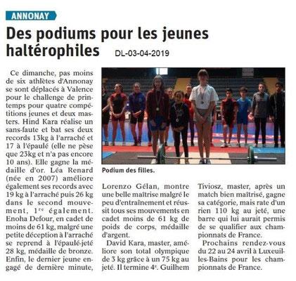 Le Dauphiné Libéré du -03-04-2019- Halthérophiles d'Annonay
