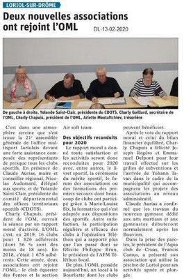 Le Dauphiné Libéré du 13-02-2020- AG OMLoriolais