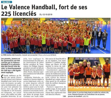 Dauphiné libéré du 12-10-2019- Valence Handball