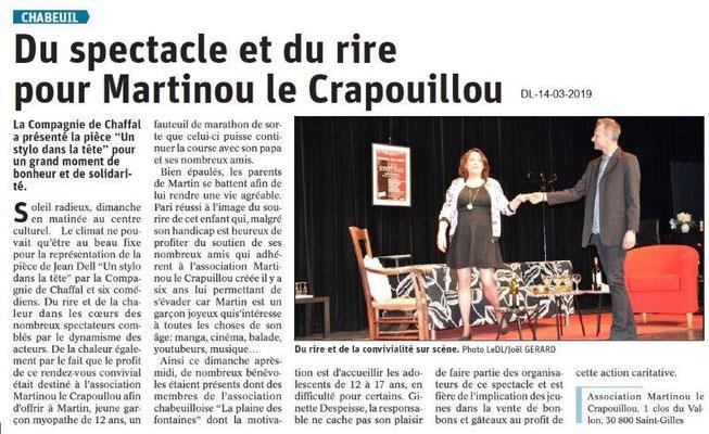 Le Dauphiné Libéré du 14-03-2019- Chabeuil-Théâtre pour Martinou