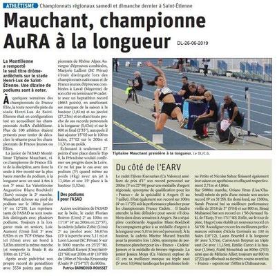 Dauphiné Libéré du 26-06-2019- Athlétisme championnats régionaux