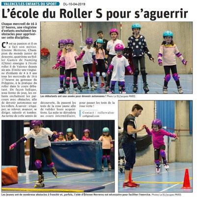 Le Dauphiné Libéré du 10-04-2019- Ecole de Rollers à Valence