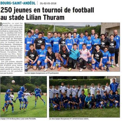 Dauphiné Libéré du 02-05-2018- Tournoi Foot-Bourg Saint-Andéol
