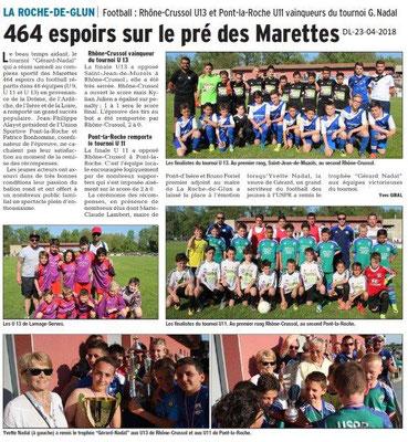 Dauphiné Libéré du 23-04-2018-Tournoi foot-La Roche de Glun