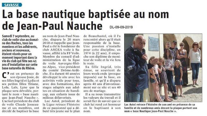 Dauphiné libéré du 09-09-2019- Club nautique de Savasse