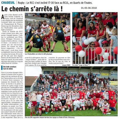 Dauphiné Libéré du 05-06-2018-Chabeuil résultat au Rugby