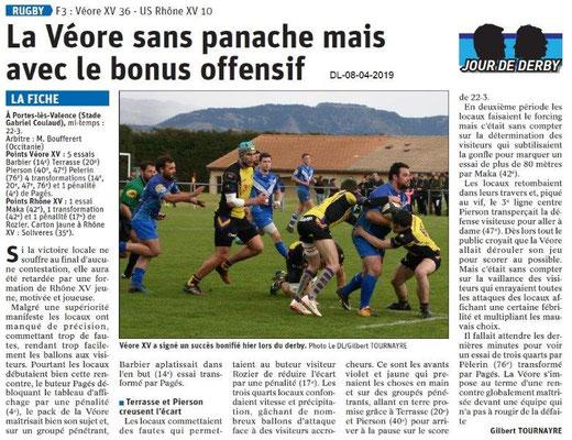 Le Dauphiné Libéré du 08-04-2019- Rugby de PLV