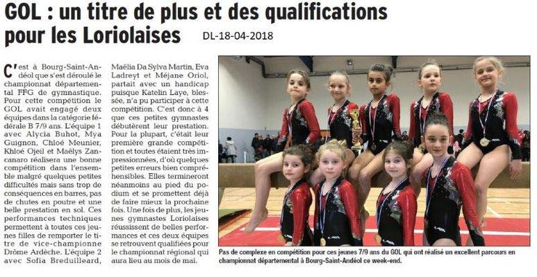 Dauphiné Libéré du 18-04-2018-GOL Gym-Loriol