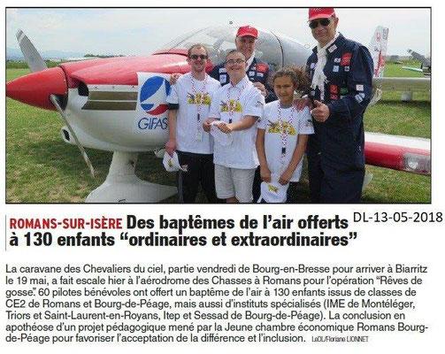 Dauphiné Libéré du 13-05-2018- 1- Les Chevaliers du Ciel à Bourg de Péage