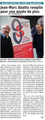 Le Dauphiné Libéré du 15-03-2019- J.M.Abattu continue à l'OSV