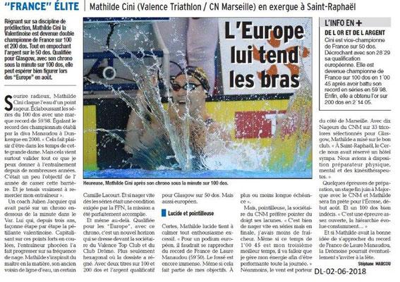 Dauphiné libéré du 02-06-2018-Mathilde Cini Qualifiée