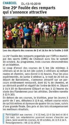 Dauphiné libéré du 13-10-2019- La Fouléé des Remparts