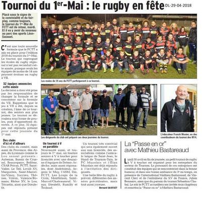 Dauphiné Libéré du 29-04-2018-Tournoi du ler Mai-Tournon sur Rhône
