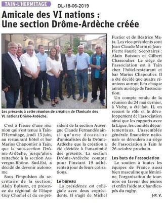 Dauphiné Libéré du 18-06-2019- Amicale Rugby Tain