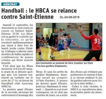 Dauphiné libéré du 24-09-2019- Handball d'Annonay