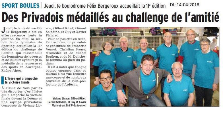 Dauphiné Libéré du 14-04-2018-Sport Boules-Privas