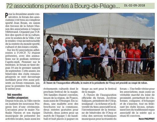 Dauphiné Libéré du 02-09-2018 Forum de l'OSCP de Bourg de Péage