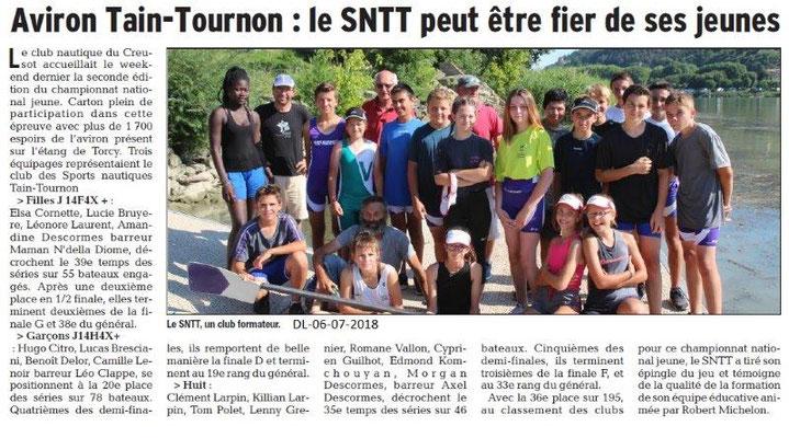 Dauphiné Libéré du 06-07-2018- Aviron Tain-Tournon
