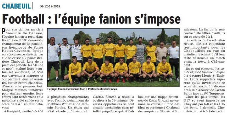 Dauphiné Libéré du 12-12-2018- Football à Chabeuil