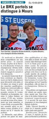 Le Dauphiné Libéré du 13-03-2019- BMX Portois