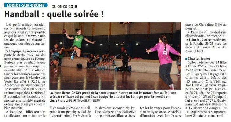 Le Dauphiné Libéré du 06-05-2019- Handball Loriol