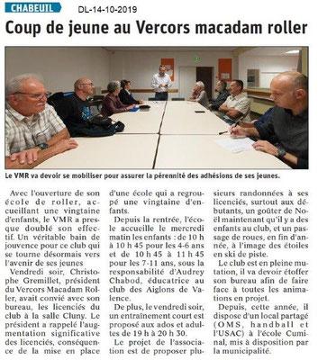 Dauphiné libéré du 14-10-2019- Macadam Roller de Chabeuil