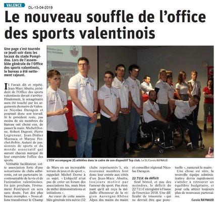 Le Dauphiné Libéré du 13-04-2019- AG OSValentinois