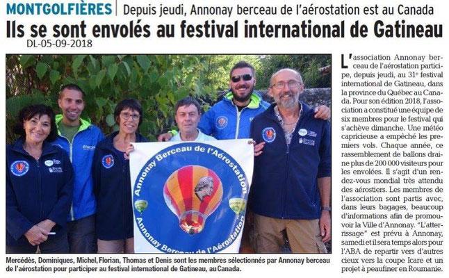 Dauphiné Libéré du 05-09-2018- Mongolfière pour le festival internationnal au Canada