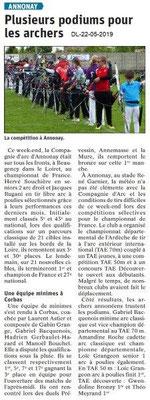 Le Dauphiné Libéré du 22-05-2019- Les archers d'Annonay