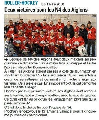Dauphiné Libéré du 11-12-2018- ROLLER-HOCKEY de Valence
