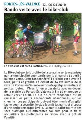 Le Dauphiné Libéré du 09-04-2019- Rando verte avec le Bike PLV