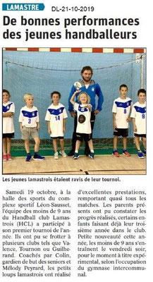 Dauphiné libéré du 21-10-2019- Jeunes handballeurs lamastrois