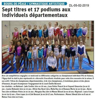 Dauphiné Libéré du 05-02-2019- UGAP Gym de Bourg de Péage