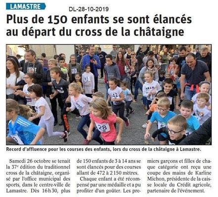 le Dauphiné Libéré du 28-10-2019- Cross de la chataîgne de Lamastre.