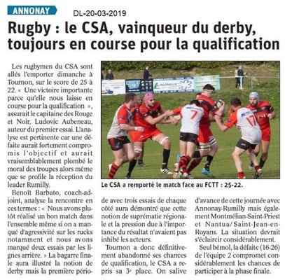 Dauphiné Libéré du 20-03-2019- Rugby d'Annonay