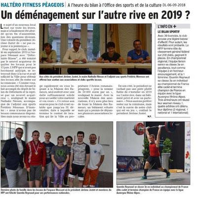 Dauphiné Libéré du 06-09-2018- OSCP Bourg de Péage