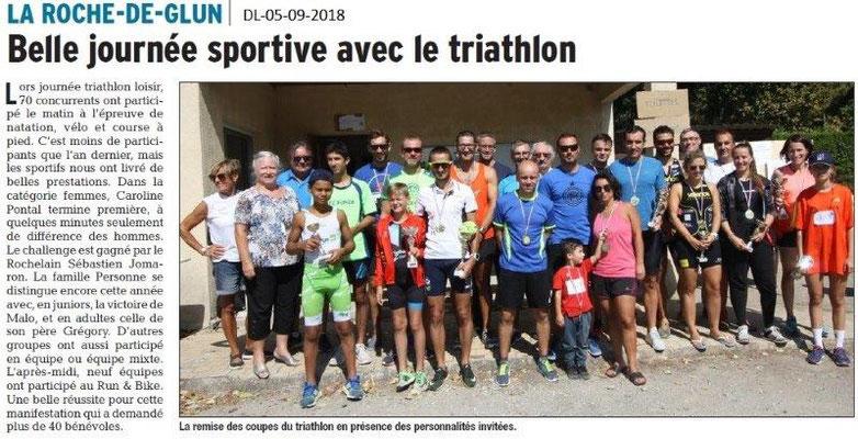 Dauphiné Libéré du 05-09-2018- Triathlon de La Roche de Glun