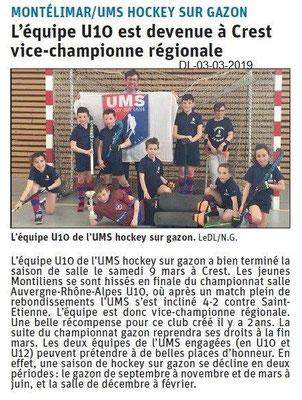 Le Dauphiné Libéré du 13-03-2019- Hockey sur gazon de Montélimar