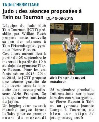 Dauphiné libéré du 19-09-2019- Judo de Tain