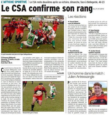 Dauphiné Libéré du 21-01-2019- Rugby à Annonay